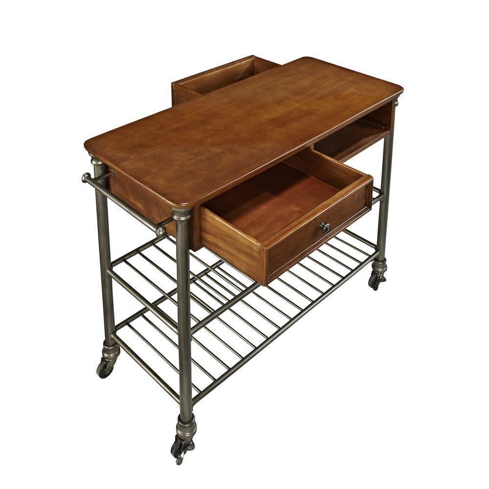 Orleans Vintage Caramel Kitchen Cart With Towel Bar