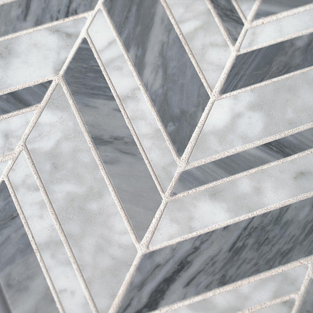 Carlton Gray 11.625 in. x 12 in. ChevronMarbleWall and Floor Mosaic Tile (0.968 sq. ft./Each)