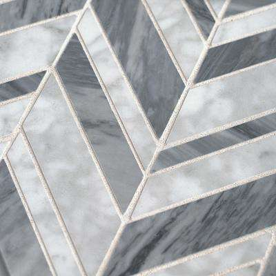 Carlton Gray 11.25 in. x 12 in. x 9 mm Chevron Marble Wall and Floor Mosaic Tile
