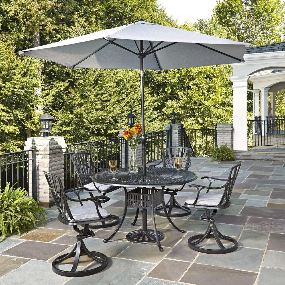 home styles largo 5 piece patio dining set with gray cushions and umbrella 5560 3256c the home. Black Bedroom Furniture Sets. Home Design Ideas
