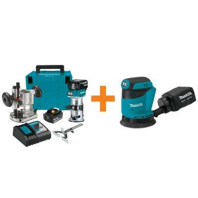 18-Volt LXT Brushless Cordless Compact Router Kit/Bonus 18V LXT Brushless 5 in. Cordless Random Orbit Sander (Tool-Only)