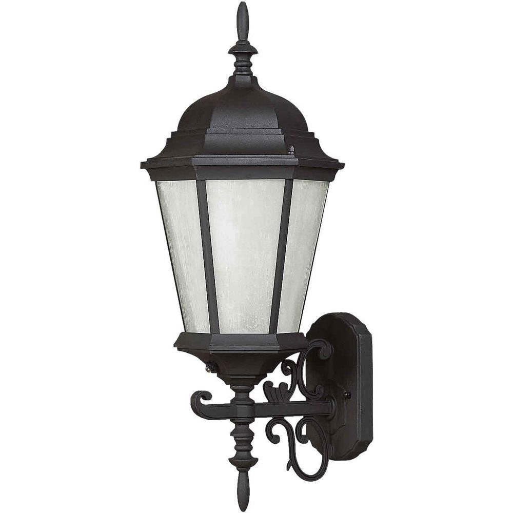 Talista 1 Light Outdoor Lantern Black Finish Frosted Seeded Glass Panels