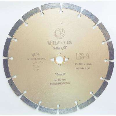 9 in. 16-Teeth Segmented Diamond Blade for Dry or Wet Cutting Concrete, Stone, Brick and Masonry