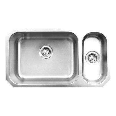 Noah's Collection Brushed Undermount Stainless Steel 32.25 in. 0-Hole Double Bowl Kitchen Sink