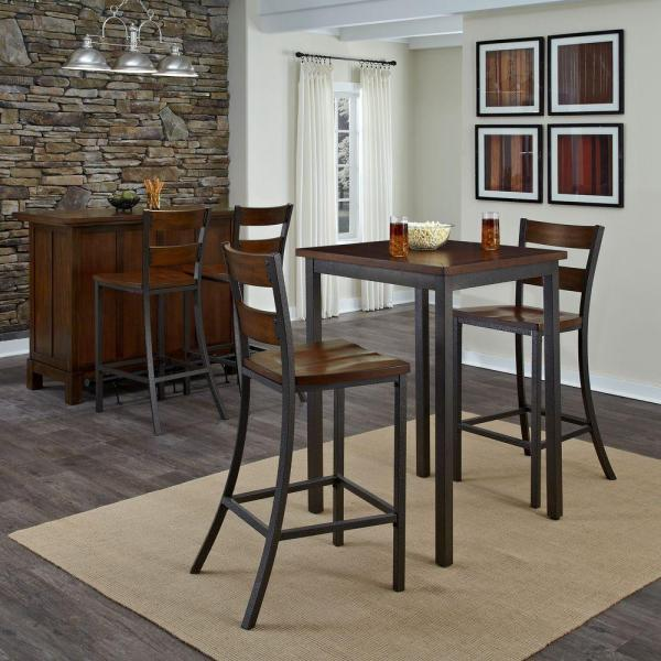 Home Styles 3 Piece Hammered Metal Bar Table Set 5411 359