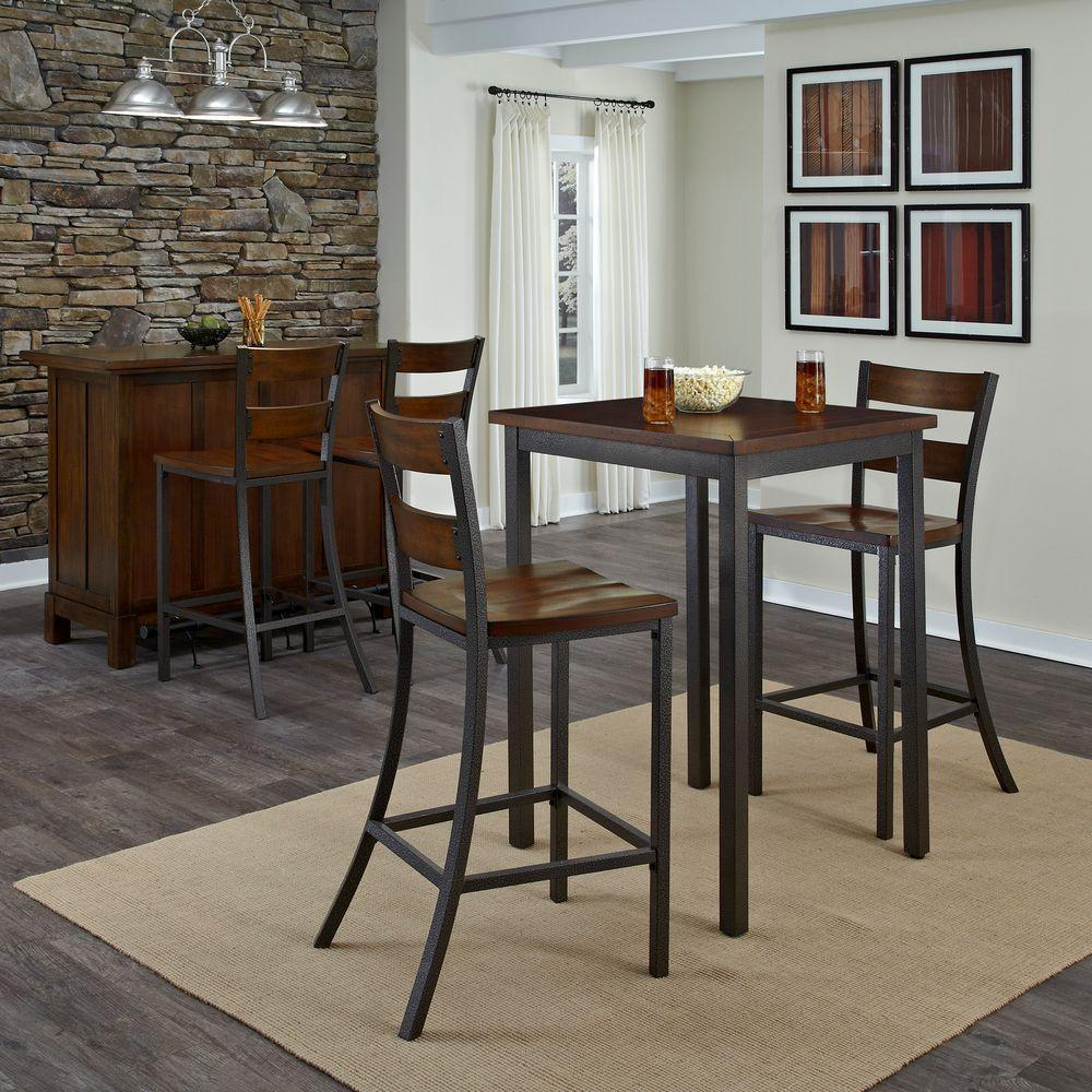 Homestyles 3 Piece Hammered Metal Bar Table Set 5411 359