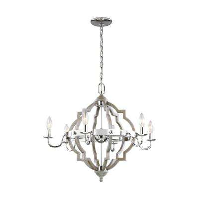 Socorro 6-Light Washed Pine Chandelier with LED Bulbs