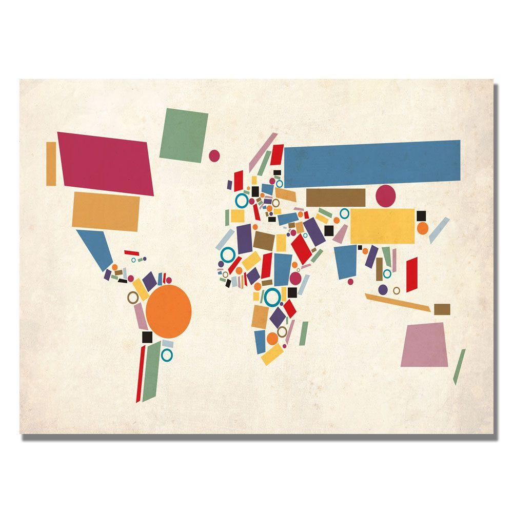 Trademark Fine Art 18 In X 24 In Abstract Shapes World Map Canvas