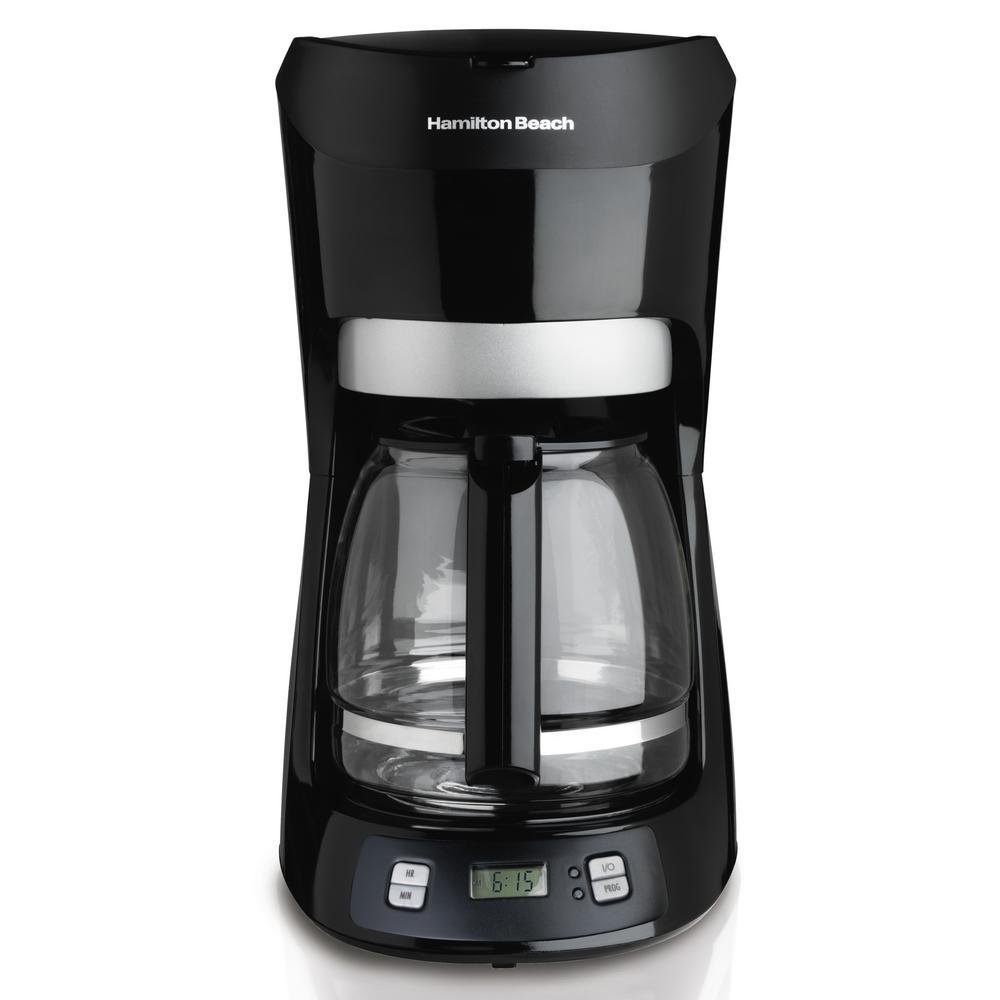 12-Cup Black with Digital Clock Drip Coffeemaker with Digital Clock