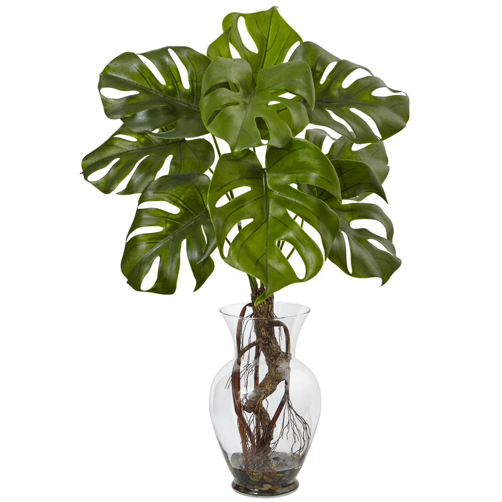 Nearly Natural Monstera Plant with Vase-6874 - The Home Depot on house plants in containers, tropical plants in vases, house plants in kitchen, green plants in vases, aquatic plants in vases, growing plants in vases, fake plants in vases, water plants in vases,