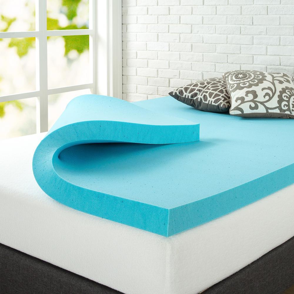 zinus 3 in gel queen memory foam topper hd mgt 300q the home depot. Black Bedroom Furniture Sets. Home Design Ideas