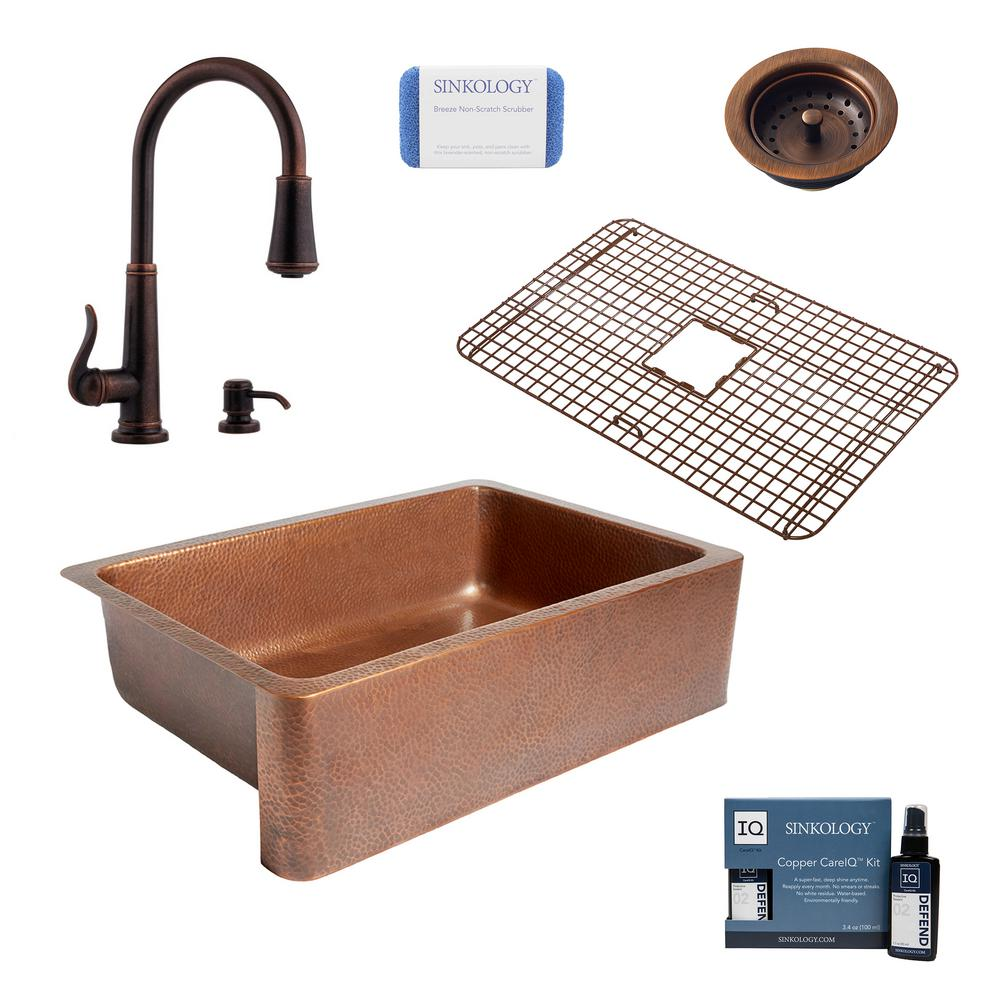 SINKOLOGY Adams All-in-One Farmhouse Copper 33 in. Single Bowl Kitchen Sink with Pfister Ashfield Faucet and Drain