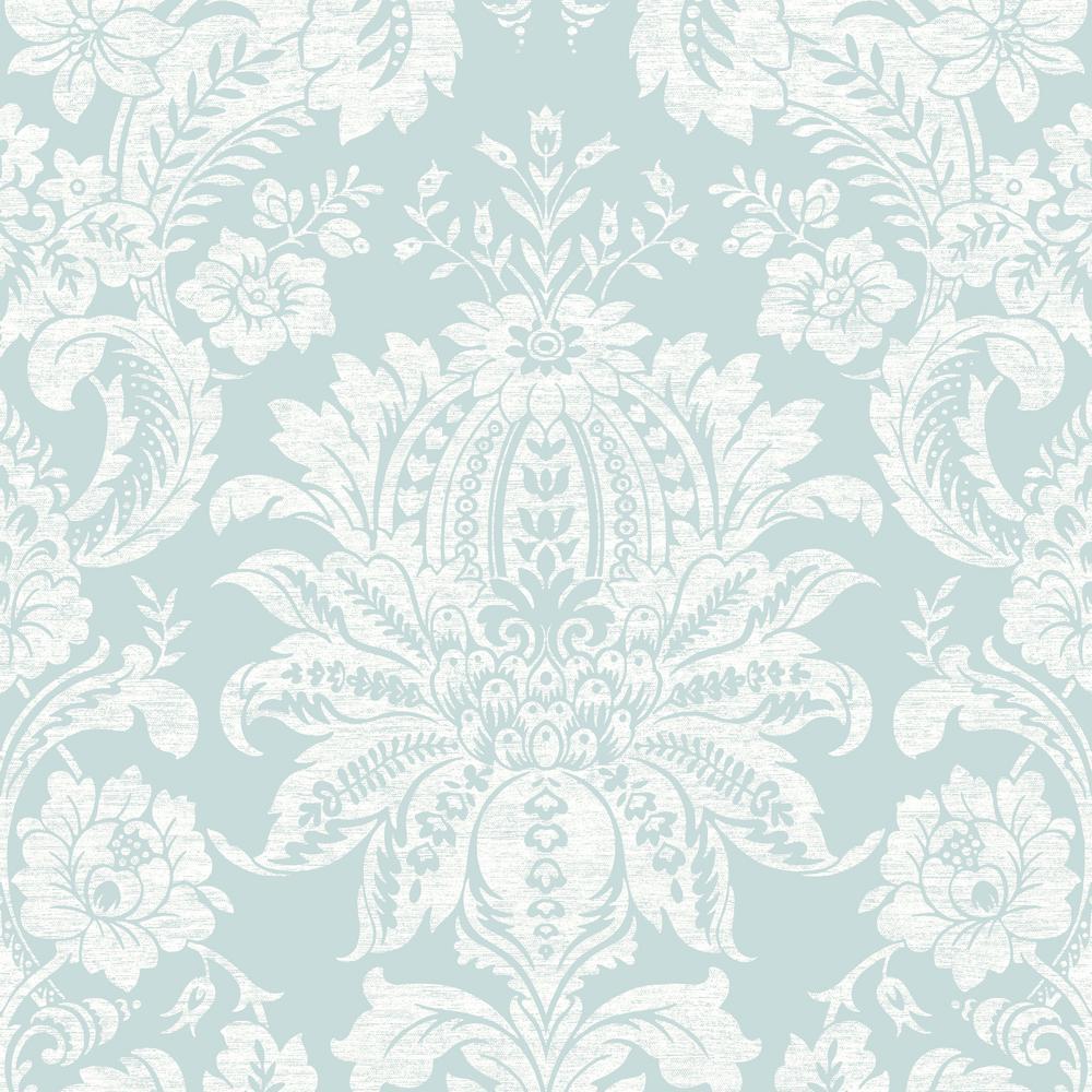 Empress Venetian Damask Blue Removable Wallpaper