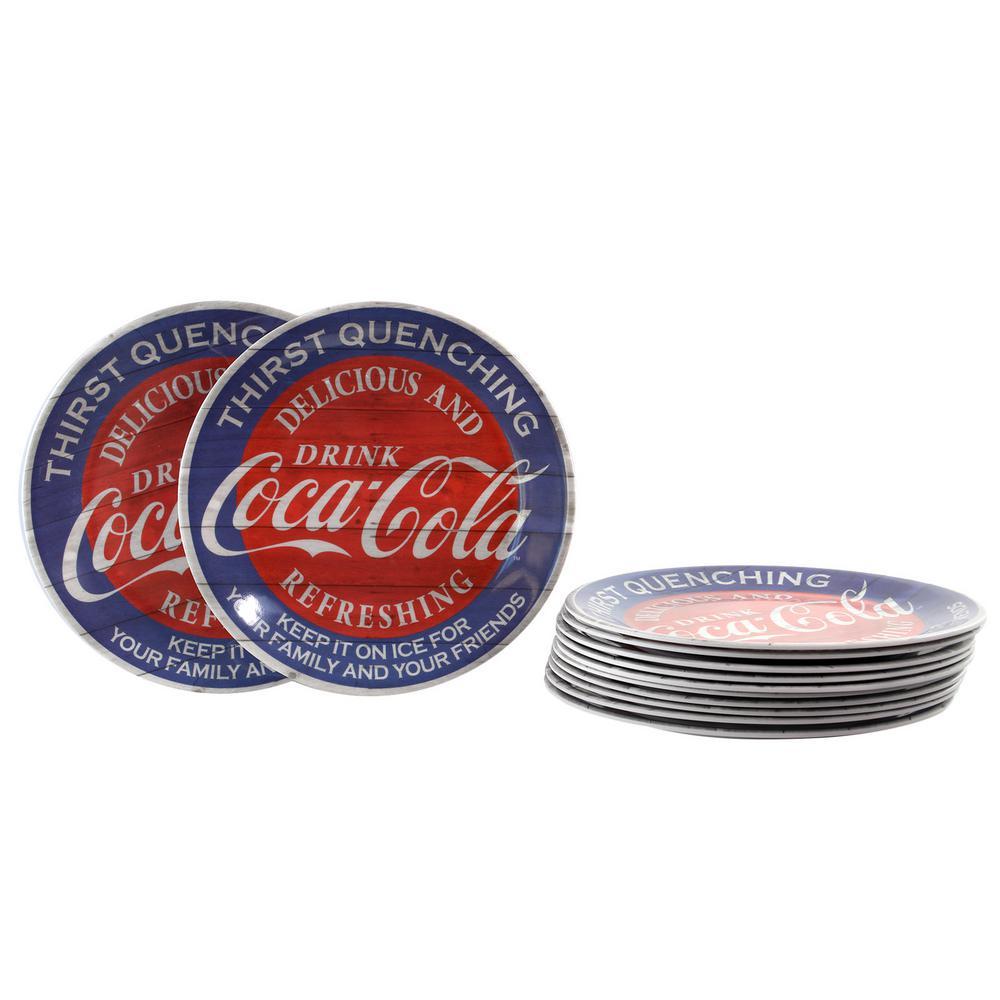 Coca-Cola Americana Blue Melamine Dessert Plate (Set of 12) 985105470M