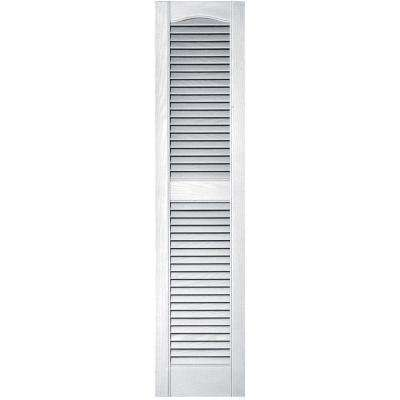 12 in. x 52 in. Louvered Vinyl Exterior Shutters Pair in #001 White