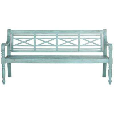 Karoo 2-Person Beach House Blue Wood Outdoor Bench