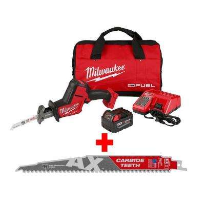 M18 FUEL 18-Volt Lithium-Ion Brushless Cordless HACKZALL Reciprocating Saw Kit with Carbide Teeth AX SAWZALL Blade