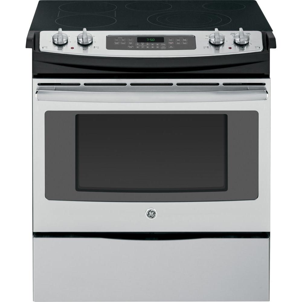 GE 4.4 cu. ft. Slide-In Electric Range with Self-Cleaning Convection Oven in Stainless Steel
