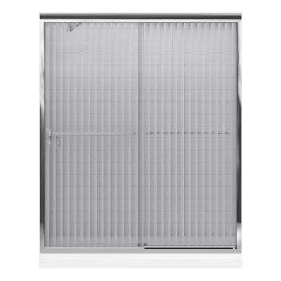 Fluence 59-5/8 in. x 55-3/4 in. Semi-Frameless Sliding Shower Door in Bright Polished Silver with Handle