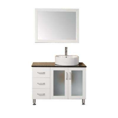 Malibu 39 in. W x 22 in. D Vanity in White with Tempered Glass Vanity Top and Mirror in Black