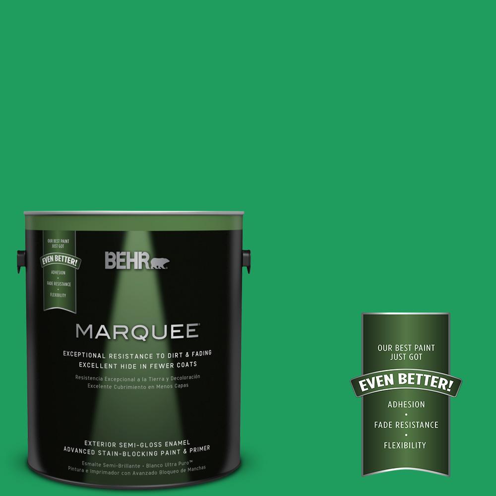 BEHR MARQUEE 1-gal. #S-G-450 Herbal Tea Semi-Gloss Enamel Exterior Paint
