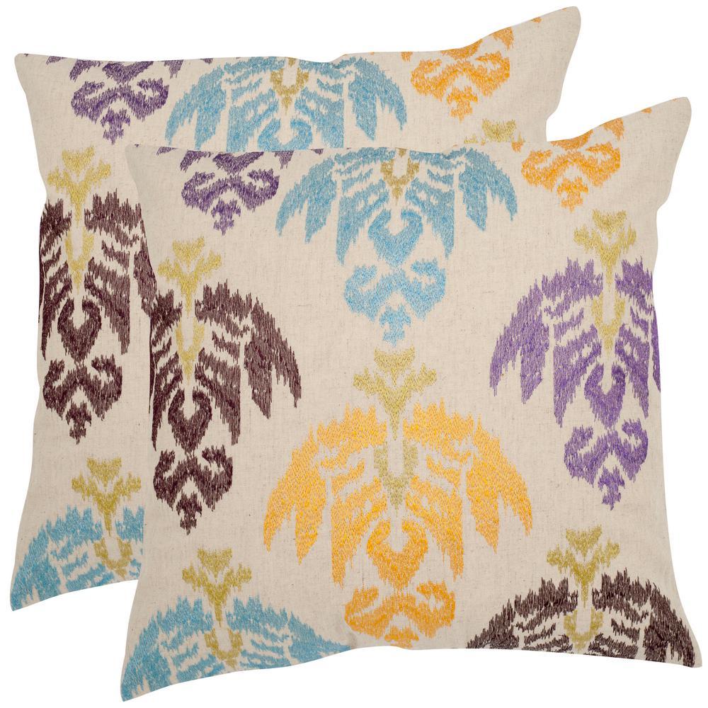 Safavieh Dina Embroidered Pillow (2-Pack) PIL918B-1818-SET2