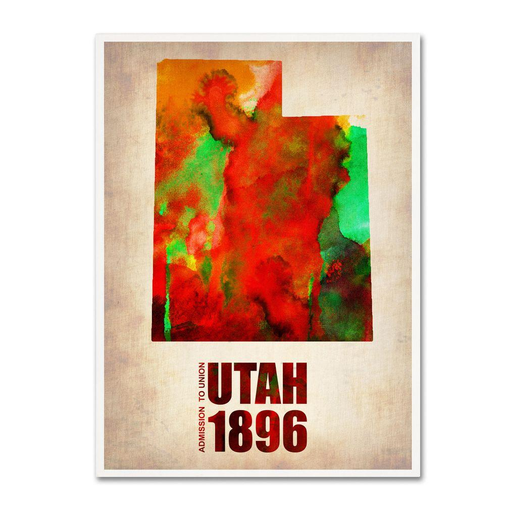 Trademark 32 in. x 24 in. Utah Watercolor Map Canvas Art