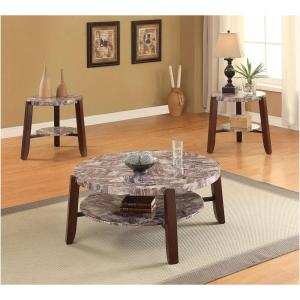 Acme Furniture Lilith Cherry Marble Top Coffee Table by Acme Furniture