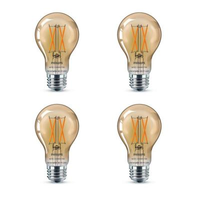 Amber A19 LED 40-Watt Equivalent Dimmable Smart Wi-Fi Wiz Connected Wireless Light Bulb (4-Pack)