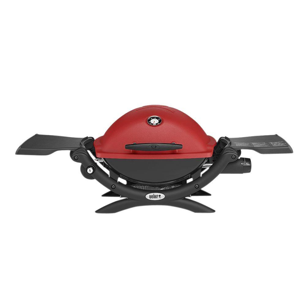 weber q 1200 1 burner portable tabletop propane gas grill in red with built in thermometer. Black Bedroom Furniture Sets. Home Design Ideas