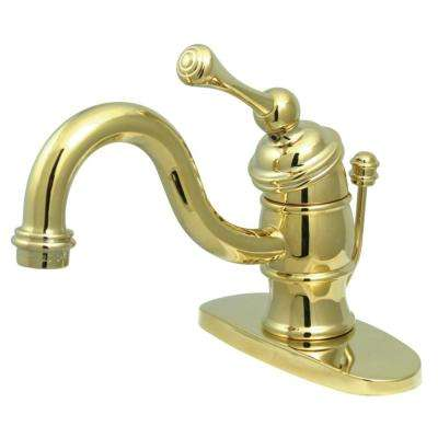 Victorian Single Hole Single-Handle Bathroom Faucet in Polished Brass
