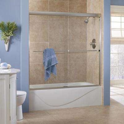 Cove 60 in. x 60 in. Semi-Framed Sliding Tub Door in Brushed Nickel with 1/4 in. Clear Glass