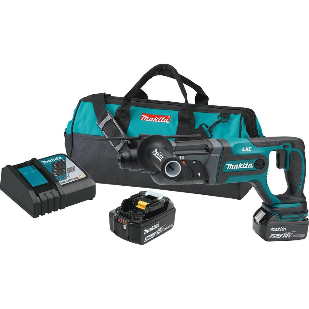 Makita 18-Volt LXT Lithium-Ion 7/8 in. Cordless SDS-Plus Concrete/Masonry Rotary Hammer Drill Kit w/ (2) batteries 5.0Ah, Bag