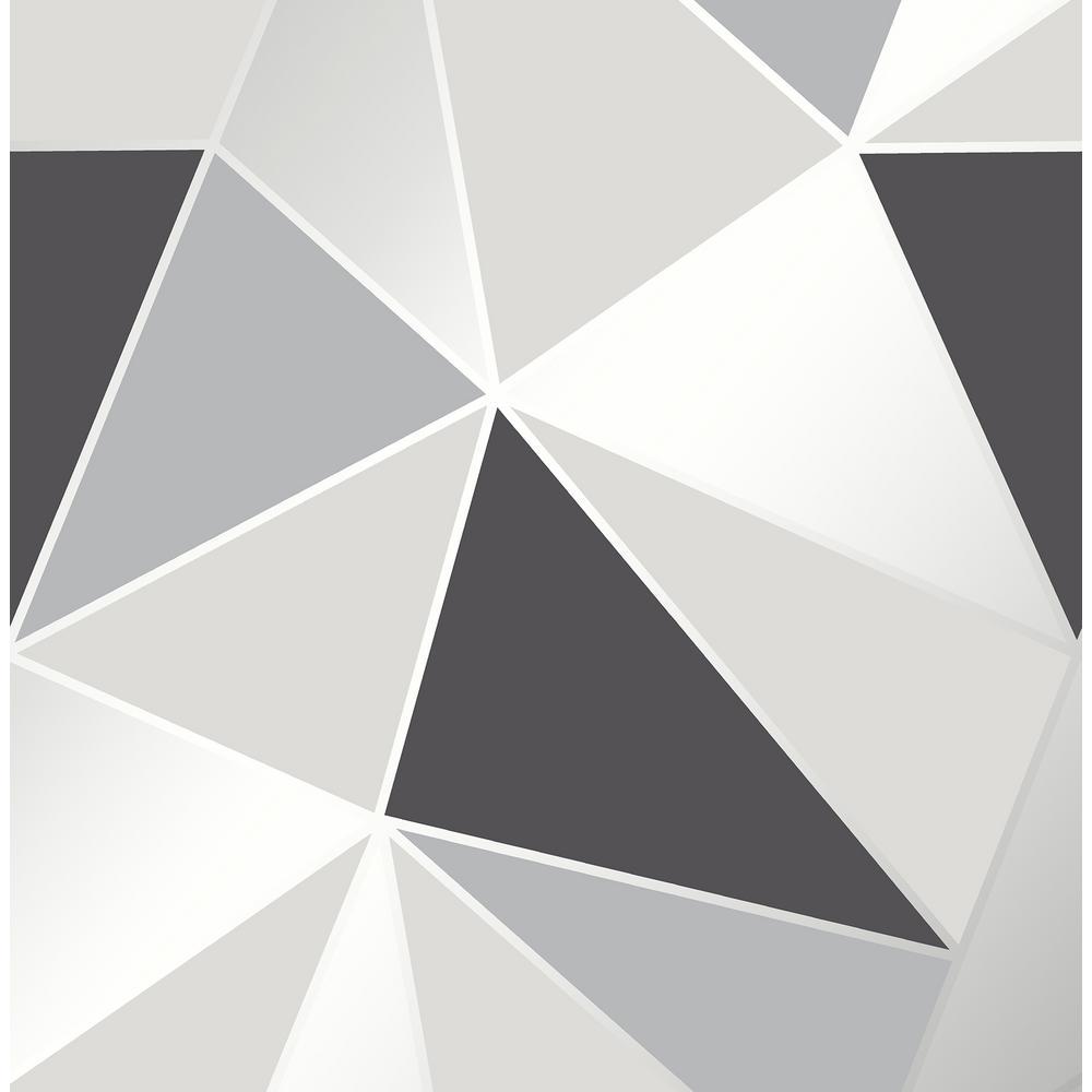 Fine Decor 8 in. x 10 in. Arken Black Geometric Wallpaper