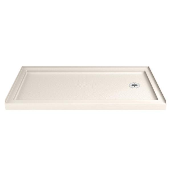 SlimLine 30 in. D x 60 in. W Single Threshold Shower Base in Biscuit with Right Hand Drain