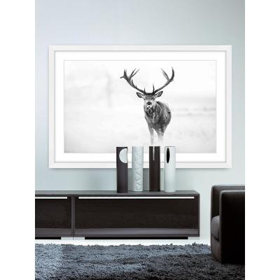 """24 in. H x 36 in. W """"Elk Stare"""" by Marmont Hill Framed Printed Wall Art"""