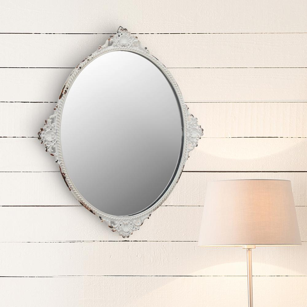 Stonebriar collection 12 in x 10 in white metal decorative wall mirror sb 6081m the home depot - Home decor wall mirrors collection ...