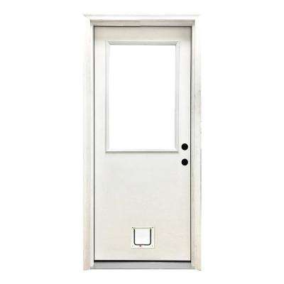 36 in. x 80 in. Classic Clear Half Lite LHIS White Primed Fiberglass Prehung Front Door with Small Cat Door