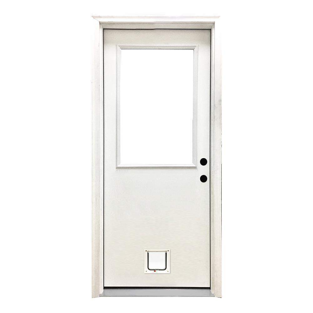 36 in. x 80 in. Classic Half Lite LHIS White Primed Textured Fiberglass Prehung Front Door with Small Cat Door