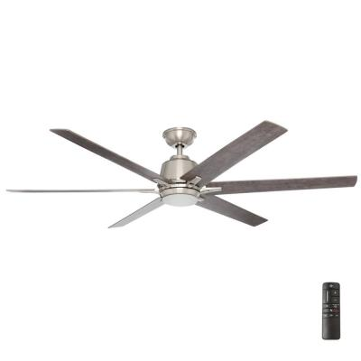 Kensgrove 64 in. Integrated LED Brushed Nickel Ceiling Fan with Light and Remote Control