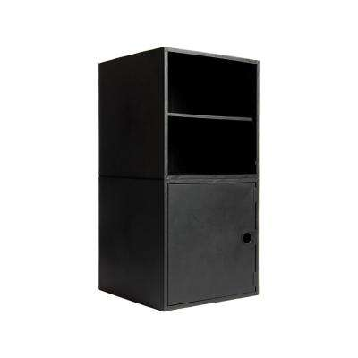 2-Cube Kit with Door and Shelf 27.5 in. x 13.75 in. Black Modular 2-Cube Storage Organizer
