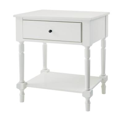 Dorfield 1 Drawer White Wood Nightstand (26 in W. X 28 in H.)