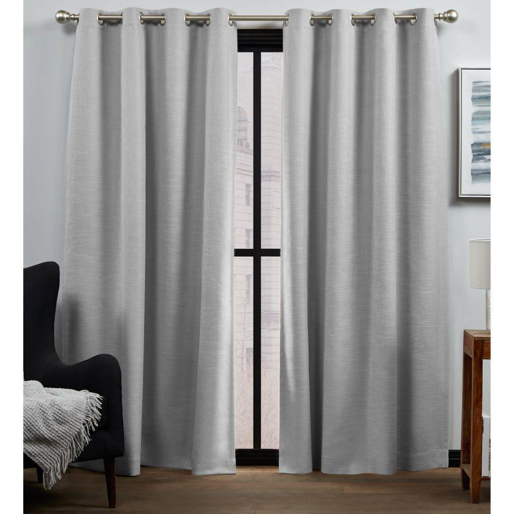 Bensen Silver Blackout Grommet Top Curtain Panel 52 in. W x 84 in. L (2 Panels)