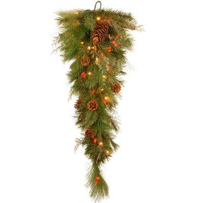 Decorative Collection 36 in. White Pine Teardrop with Battery Operated Warm White and Red LED Lights