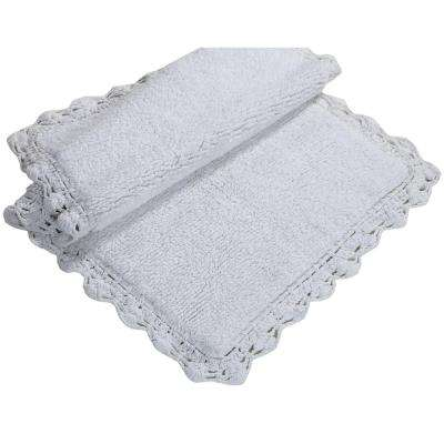 Crochet 21 in. x 34 in. and 17 in. x 24 in. 2-Piece Bath Rug Set in White