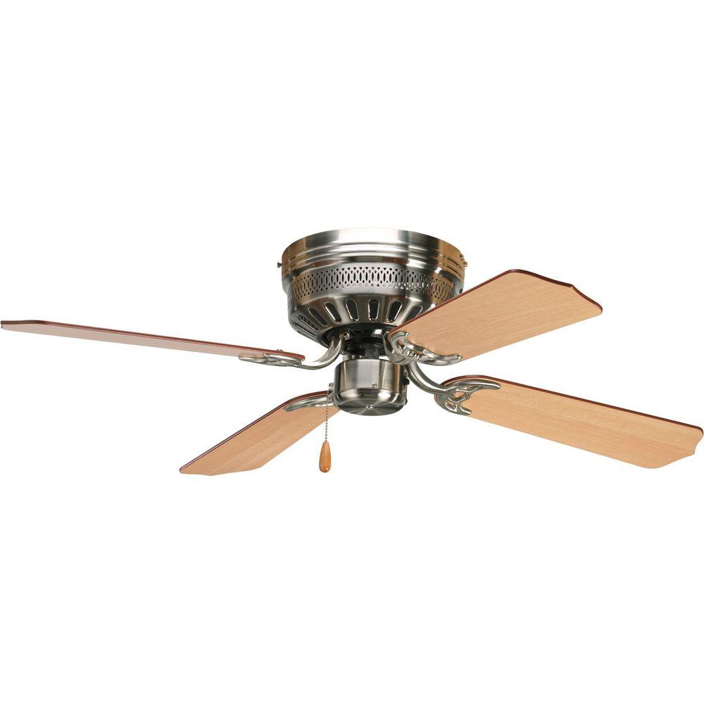 Hugger Ceiling Fans Without Light: Progress Lighting AirPro Hugger 42 In. Indoor Brushed