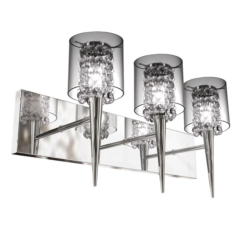 BAZZ Glam Series 3-Light Polished Chrome Wall Fixture with Clear Round Glass and Beads  sc 1 st  Home Depot & BAZZ Glam Series 3-Light Polished Chrome Wall Fixture with Clear ...