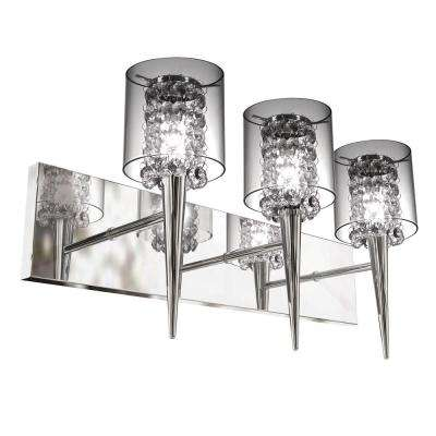 Glam Series 3-Light Polished Chrome Wall Fixture with Clear Round Glass and Beads Inserts