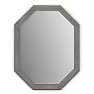 26 in. x 34 in. (M2) Octagonal Framed Mirror with Deluxe Glass and Flush Mount Hardware in Weathered Wood