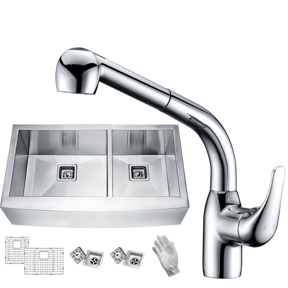 Elysian Farmhouse Stainless Steel 33 in. 60/40 Double Bowl Kitchen Sink